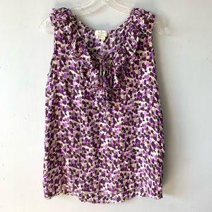 Kate Spade Purple Print Silk Ruffle Tank Top AS IS